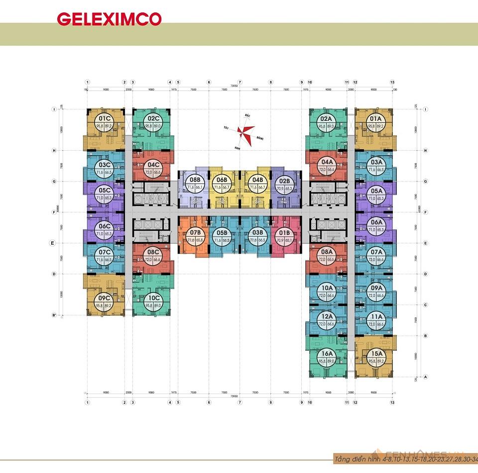 Mặt bằng tầng Gemek Premium